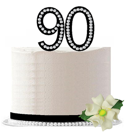 90th Birthday / Anniversary Rhinestone Bling Sparkle Cake Decoration Topper -Black
