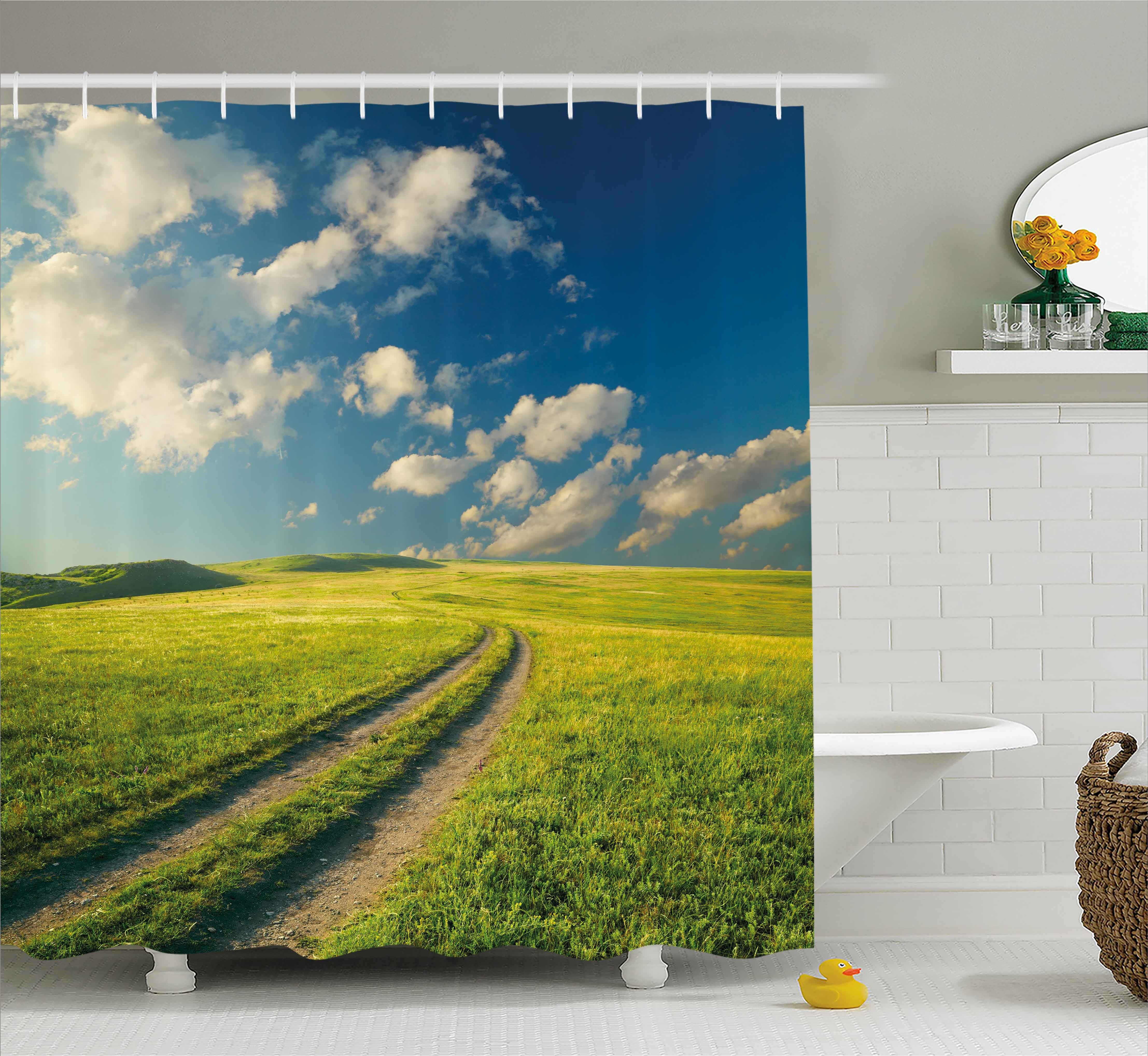 Nature Shower Curtain, Grass Path Clouds Sky Serene Sun Spring Rural Country Panorama Art, Fabric Bathroom Set with Hooks, 69W X 75L Inches Long, Dark Blue Apple Green White, by Ambesonne
