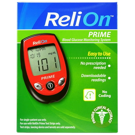 ReliOn Prime Blood Glucose Monitoring System, Red (Best Blood Glucose Meters Comparison)