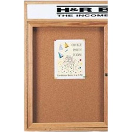 Aarco Products OBC2418RH 1-Door Enclosed Bulletin Boards with Header - Oak](White Bulletin Board)