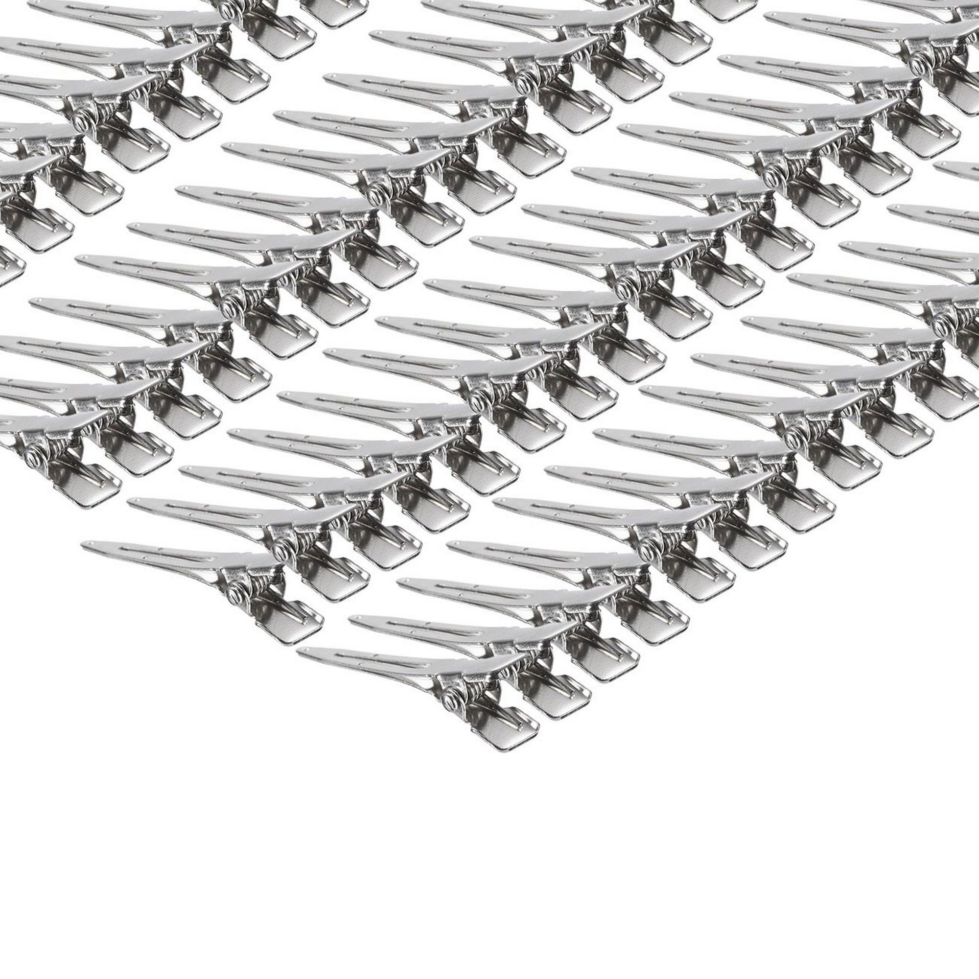 50 Pack 1.75 Inches Single Prong Curl Clips Silver Section Clips Metal Alligator