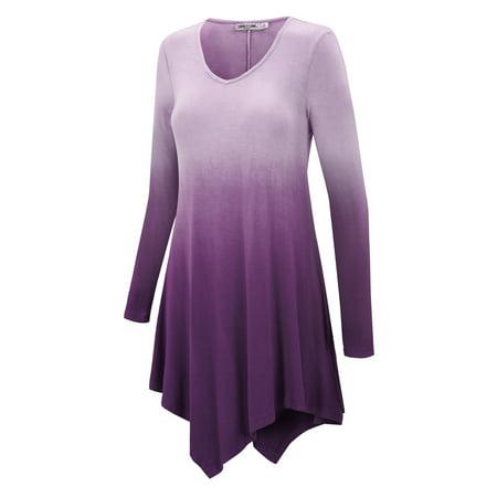 - MBJ Womens V Neck Long Sleeve Dip Dye Handkerchief Hem Tunic Top