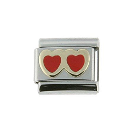 18k Stainless Steel Charm Bracelet (Stainless Steel 18k Gold Italian Charm Bracelet Link Double Red Heart Charm)