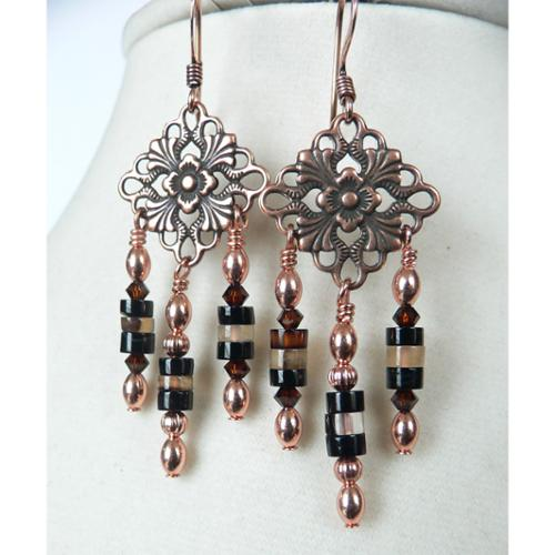Palmtree Gems Magdalena' Copper and Agate Dangle Earrings