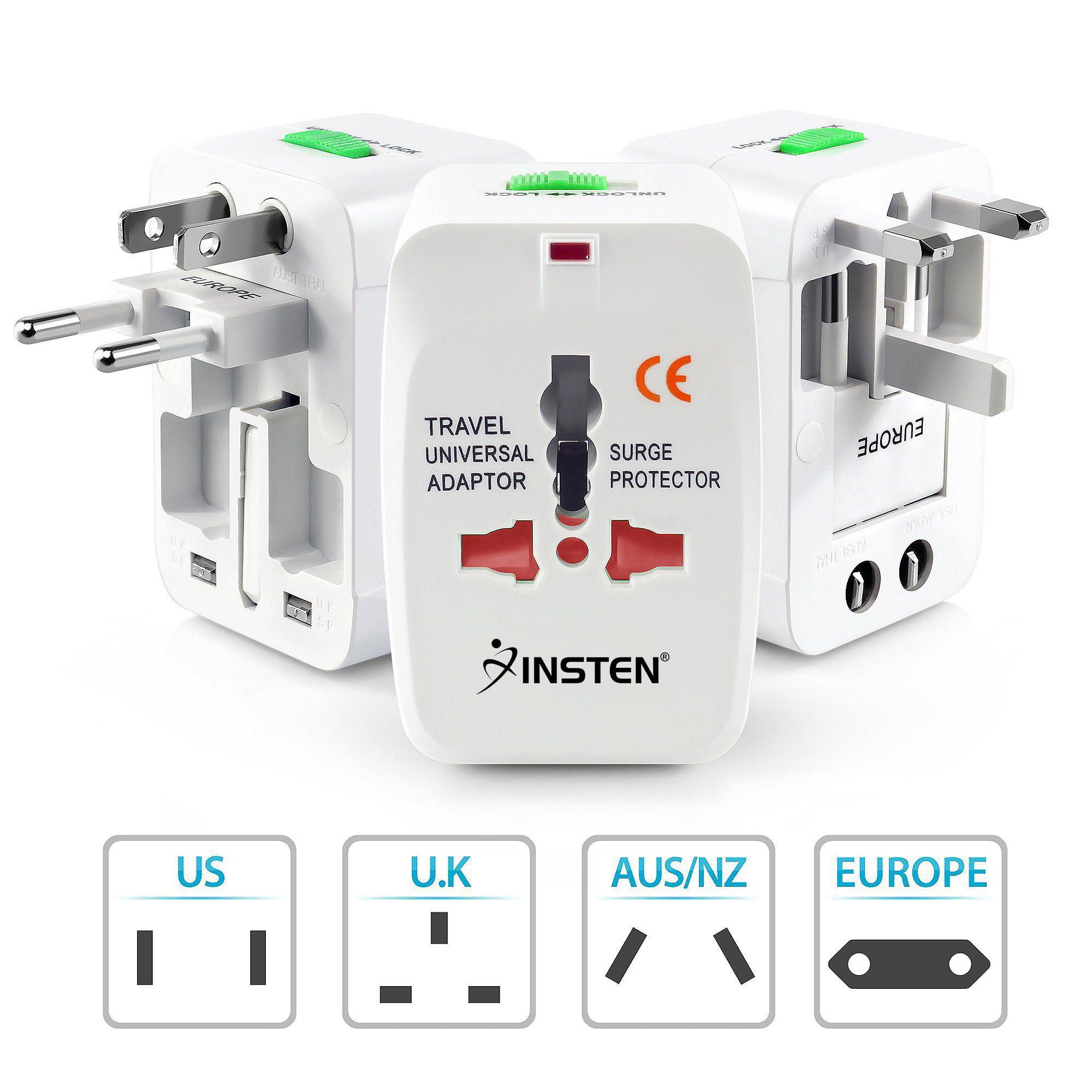 Insten Universal All-In-One (US UK EU AU) World Wide International Travel  Charger Adapter Plug White - Walmart.com a20bae953