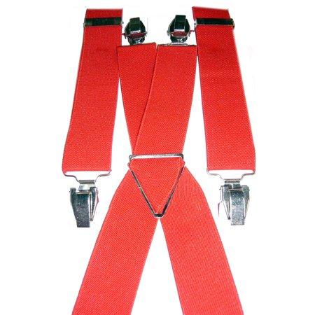 Red Wide Adjustable Suspenders SUSP-R