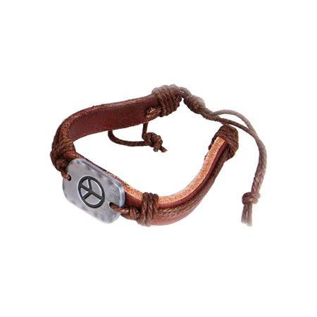 Womens Peace Bracelet - 60's Hippie Metal Peace Sign Braided Leather Bracelet Costume Accessory