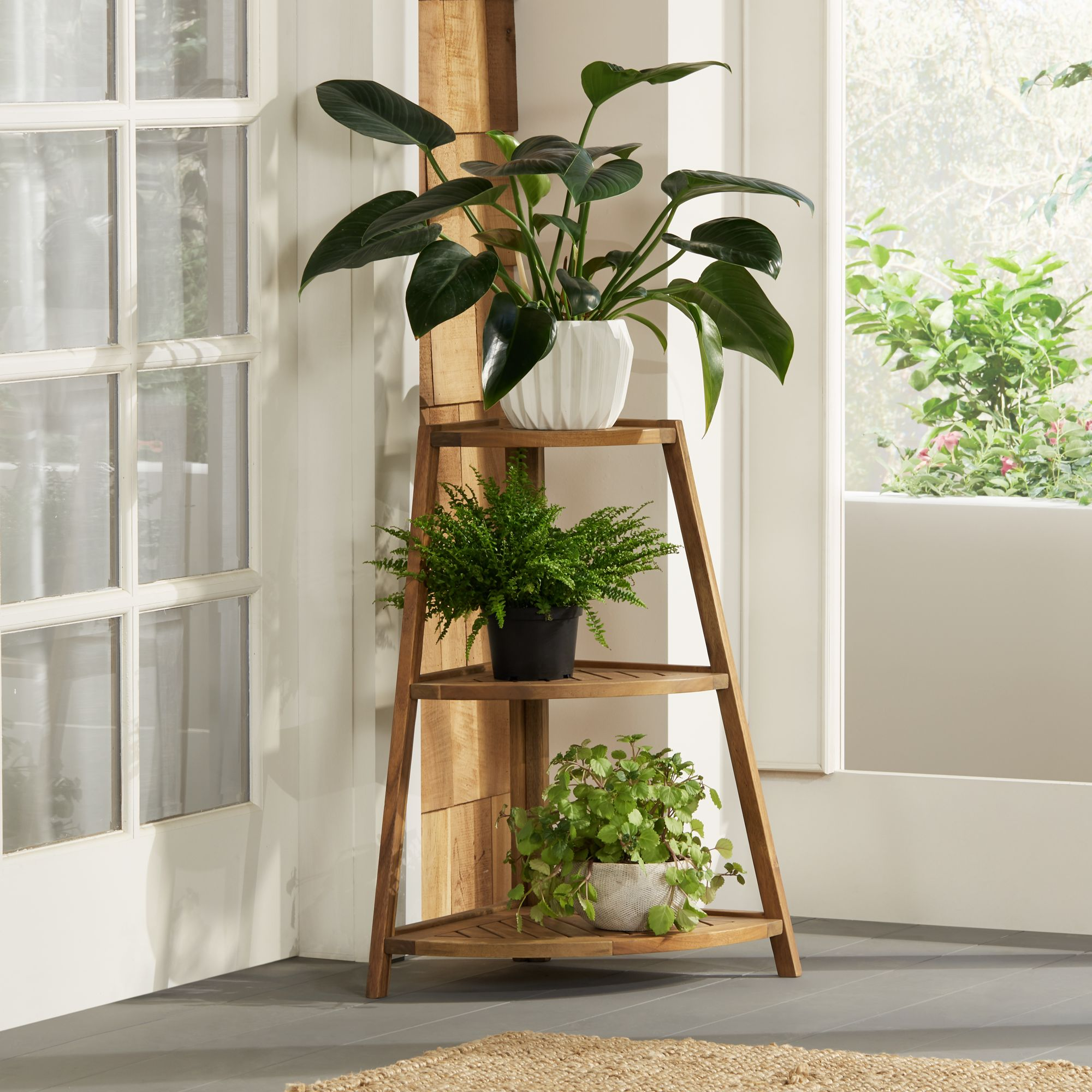 Teal Island Designs Le Petit Jardin Wooden 3-Shelf Indoor-Outdoor Plant  Stand