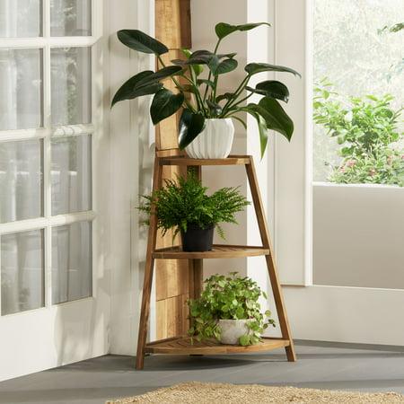 Teal Island Designs Le Pe Jardin Wooden 3 Shelf Indoor Outdoor Plant Stand