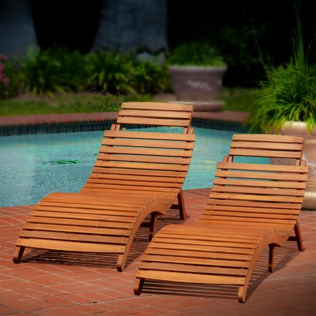 Best Selling Home Decor Molokini Wood Outdoor Chaise Lounge Set Of 2
