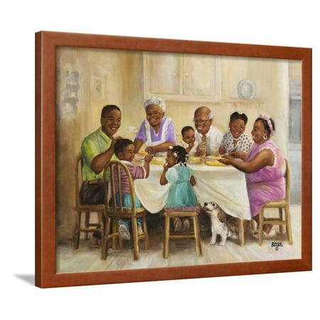 Art Dinner - Family Dinner Framed Print Wall Art By Dianne Dengel