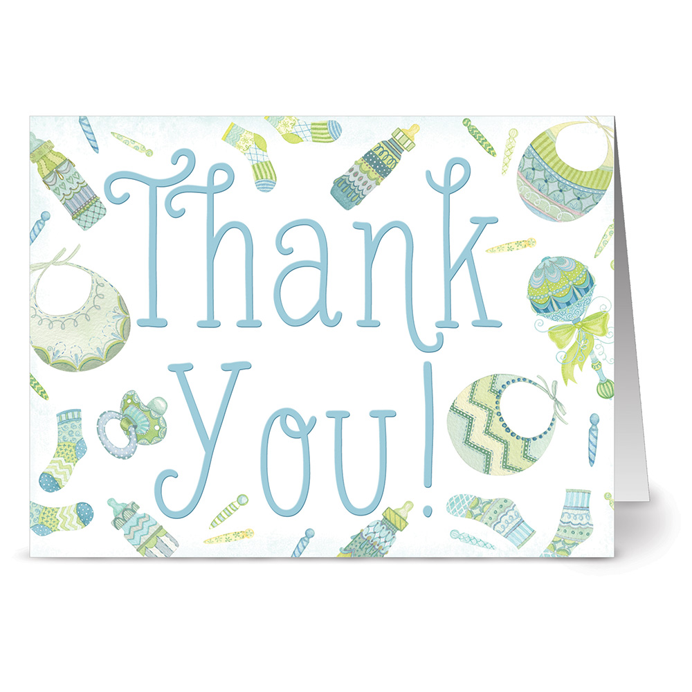 24 Note Cards - Baby Menagerie Thank You Blue - Blank Cards - Cobalt Blue Envelopes Included