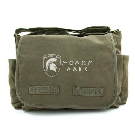 Vintage Classic Army Heavyweight Canvas Messenger Shoulder Bag Molon Labe Shield Classic Vintage Shoulder Bag