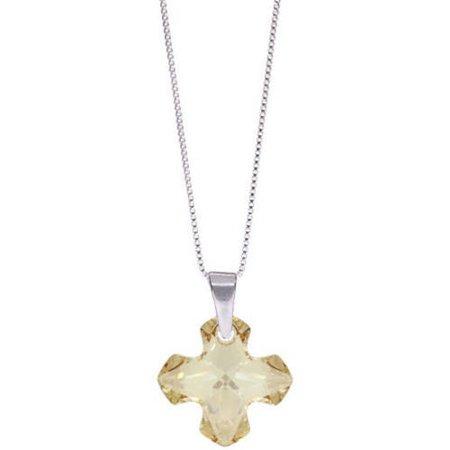 Pori Jewelers Swarovski Golden Shade Sterling Silver Cross Pendant