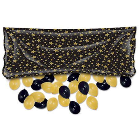 Beistle Balloon Drop Bag (Black w/ Gold Stars)](Balloon Bags)