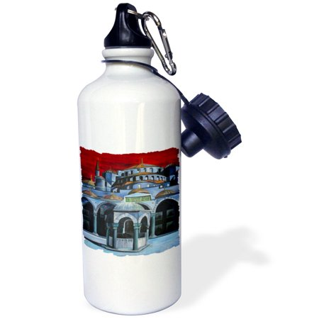 (3dRose Sultan Ahmed Mosque - istanbul, islamic, sultan ahmed mosque, mosque, sultanahmet camii, blue mosque, Sports Water Bottle, 21oz)