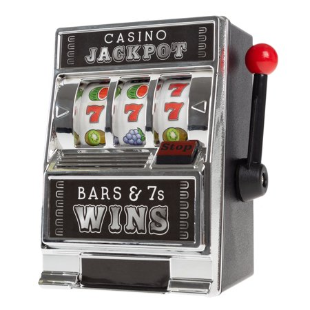 Slot Machine Coin Bank– Realistic Mini Table Top Novelty Toy by Trademark (Skill Slot Machine)