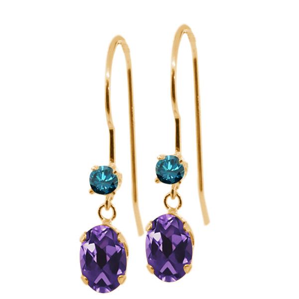 1.03 Ct Oval Purple Amethyst Blue Diamond 14K Yellow Gold Earrings