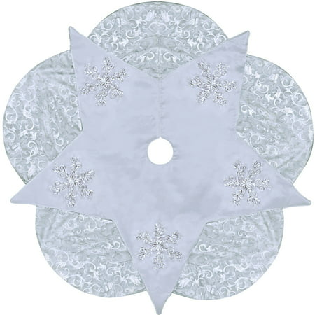 Holiday time christmas decor 56 silver satin star tree for Decor 07834