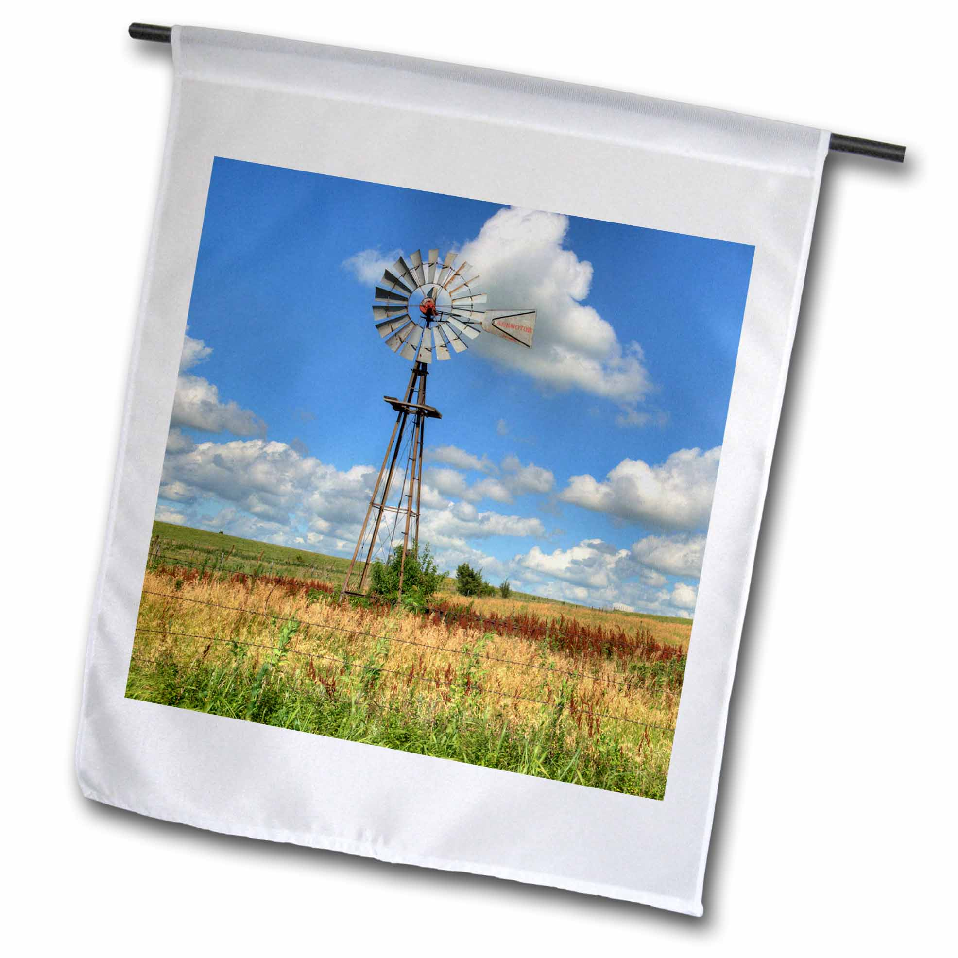 3dRose USA, Kansas. Windmill Landscape, Garden Flag, 12 by 18-Inch by 3dRose