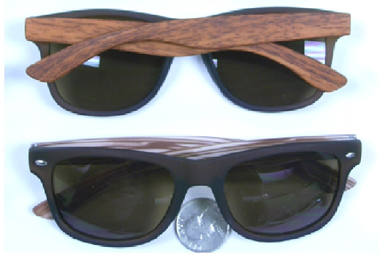 043d1cb293 Black Sunglasses With Faux Wood Grain Arms Wooden Fashion ...