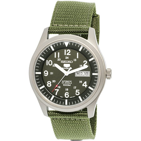 Seiko Men's 5 Automatic SNZG09K Green Nylon Automatic Fashion Watch 5 Superior Automatic Mens Watch