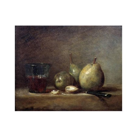 Pears, Nuts and Glass of Wine by Jean Baptiste Simeon Chardin Print Wall (Best Brand Of Jeans For Pear Shaped)