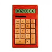 "Impecca Bamboo Custom Carved Calculator - 12 Character[s] - Lcd - Solar Powered - 5.9"" X 3.7"" X 0.8"" - Cherry (cb1205)"