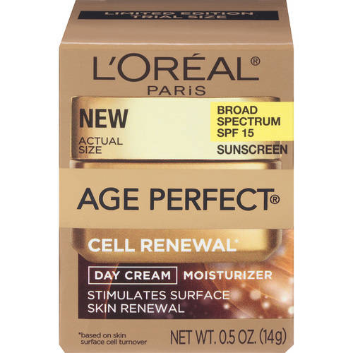 L'Oreal Paris Age Perfect Cell Renewal Day Cream Moisturizer, 0.5 oz