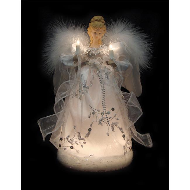 Northlight Seasonal 30871367 Ice Palace Lighted White & Silver Angel Christmas Tree Topper - Clear Lights