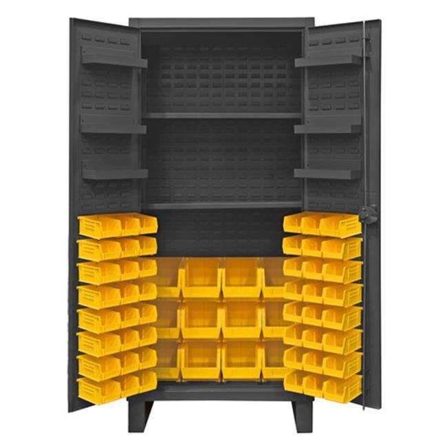 12 Gauge Recessed Door Style Lockable Cabinet with 60 Blue Hook on Bins & 2 Adjustable 6 Door Shelves, Gray - 36 in.