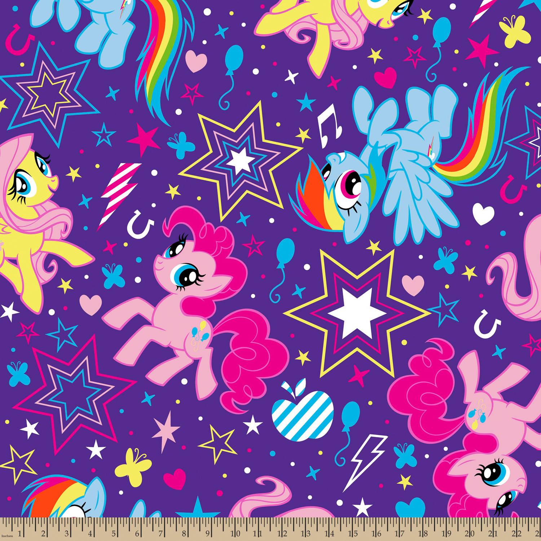"Hasbro Bros My Little Pony Cutie Power Toss, Fleece, Purple, 59/60"" Width, Fabric by the Yard"