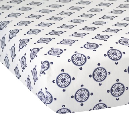 Lambs & Ivy Classic Navy Medallion Cotton Fitted Crib Sheet - Blue, White ()