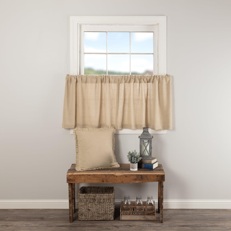 Vintage Tan White Farmhouse Kitchen Curtains Burlap