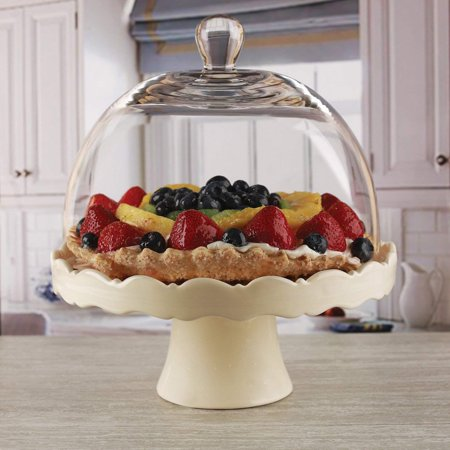 Circleware Dolche Torta Ceramic Cake Stand with Glass Dome, Cream, 11x12 Inches (Glass Dome Cake Stand)