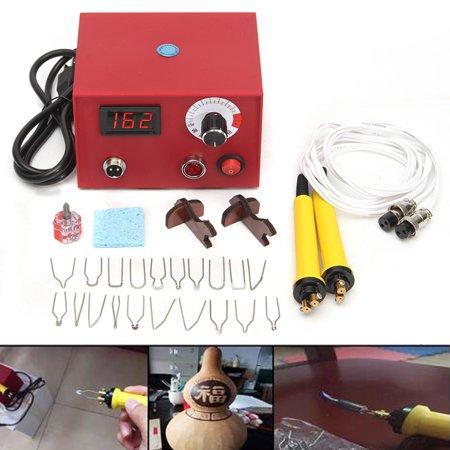 110V 50W Digital Display Multifunction Adjustable Pyrography Machine Gourd Wood Craft Tool Kit Set