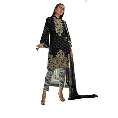 IshDeena Pakistani Dress for Women. Salwar Kameez Suit Ladies - 3 Piece Unstitched Fabric (Jacquard, Black & White - Jaipur Jacquard) Sequined Salwar Kameez