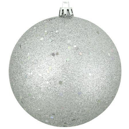 Silver Photo Ornament (Silver Splendor Shatterproof Holographic Glitter Christmas Ornament 4