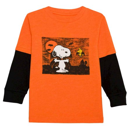 5cec05d8 Peanuts - Peanuts Infant Toddler Boys Orange Black Snoopy Woodstock Halloween  Shirt - Walmart.com