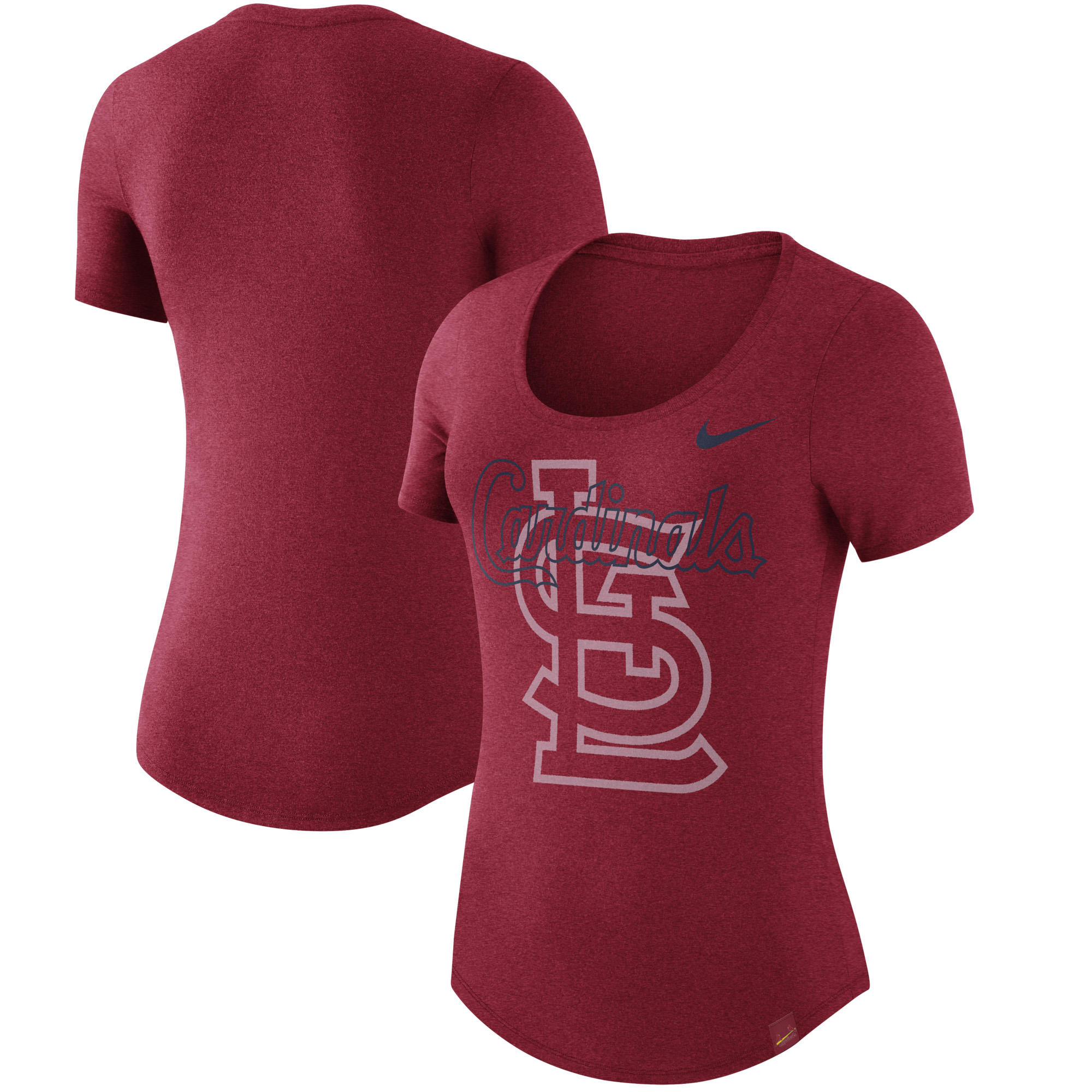 St. Louis Cardinals Nike Women's Burnout Scoop Neck Performance T-Shirt - Heathered Red