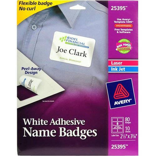 Avery Template 5395 Dimensions 616 Averyr White Adhesive Name Badges 25395 2 13 X 3 38 Pack Of 80 Com