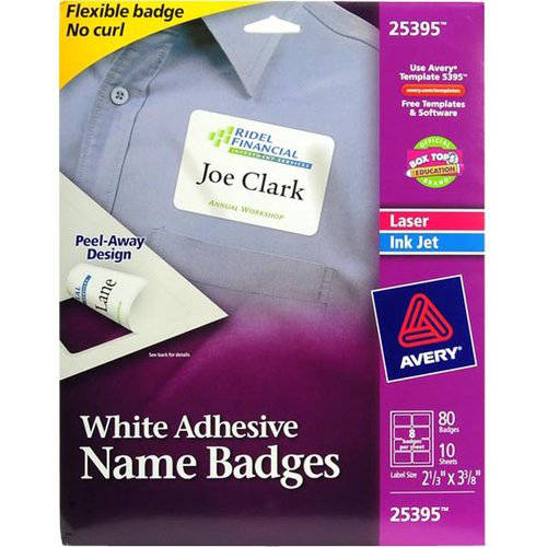 "Avery(R) White Adhesive Name Badges 25395, 2-1/3"" x 3-3/8"", Pack of 80"