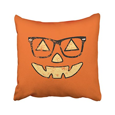 WinHome Shabby Chic Vintage Popular Happy Halloween Lantern With Glasses Pattern Polyester 18 x 18 Inch Square Throw Pillow Covers With Hidden Zipper Home Sofa Cushion Decorative Pillowcases