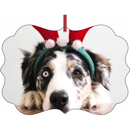 Funny Dog in Reindeer Ears Aluminum SemiGloss Quality Aluminum Benelux Shaped Hanging Christmas Holiday Tree Ornament Made in the U.S.A. - Funny Reindeer Names