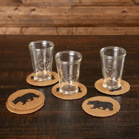 Espresso Black Rustic & Lodge Tabletop Kitchen Laramie Bear Jute Stenciled Nature Print Round Coaster Set of 6