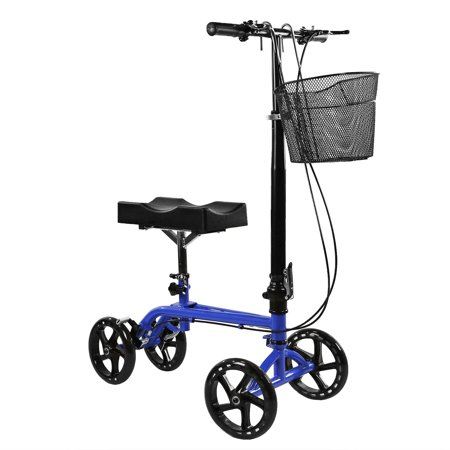 Clevr Foldable Knee Walker Scooter for foot injuries or surgery, Adjustable with Dual Brake System & Basket, Medical Steerable Crutch Alternative,