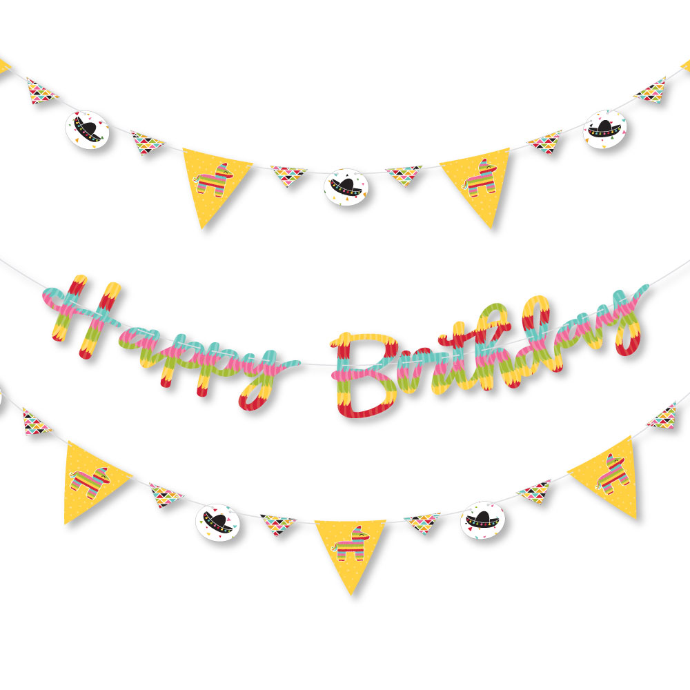 Let's Fiesta - Mexican Fiesta Birthday Party Letter Banner Decoration - 36 Banner Cutouts and Happy Birthday Banner Lett