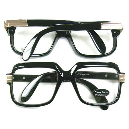 Oversized Black Hip Hop Glasses Rapper Run DMC Gazelle Rap Sunglasses 80s Metal - Superwoman Halloween Rap