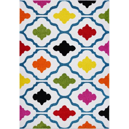 Ladole Rugs Trellis Contemporary Durable Beatuiful Indoor Kids Area Rug Carpet in Cream and Multicolor, 4x6 (3'11