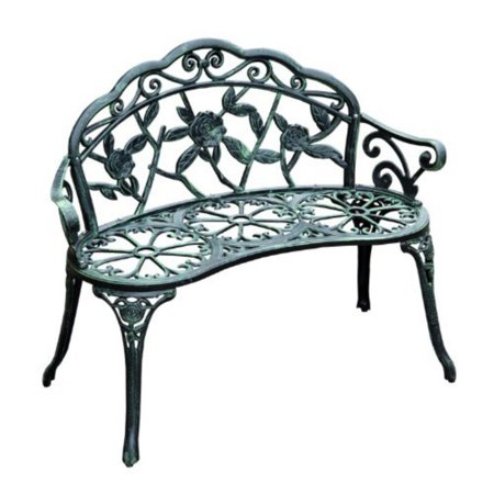 Outsunny Antique Rose 40 in. Cast Iron Garden Bench